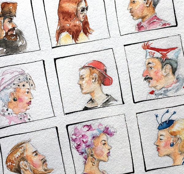 Illustration verschiedener Menschentypen.